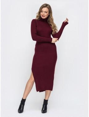 Бордова сукня-гольф з розрізом