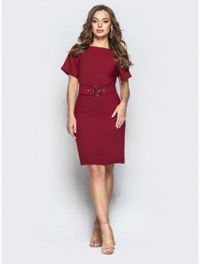 Бордовое платье с вырезом по спинке