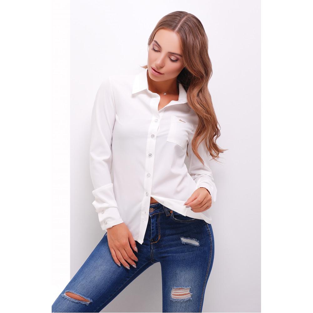 Классическая белая блузка с длинным рукавом Лайза фото 1