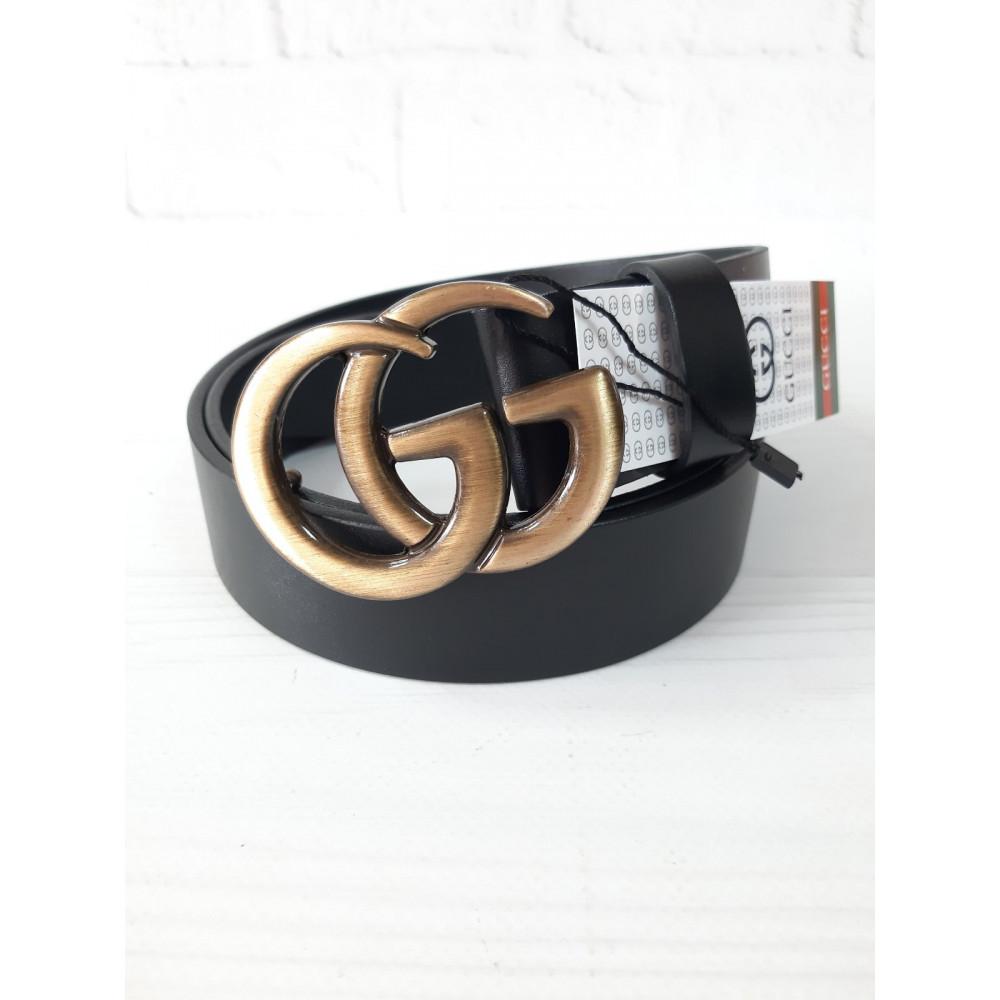 Кожаный черный ремень с медной пряжкой Gucci фото 1