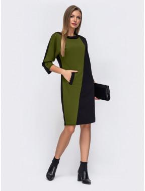 Комбинированное двухцветное платье Нелли