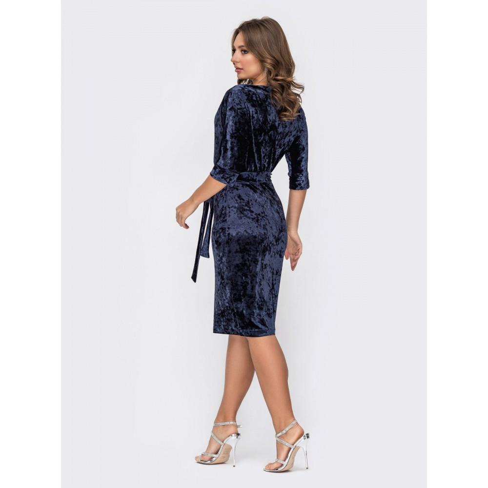 Коктейльное платье из мягкого велюра фото 2