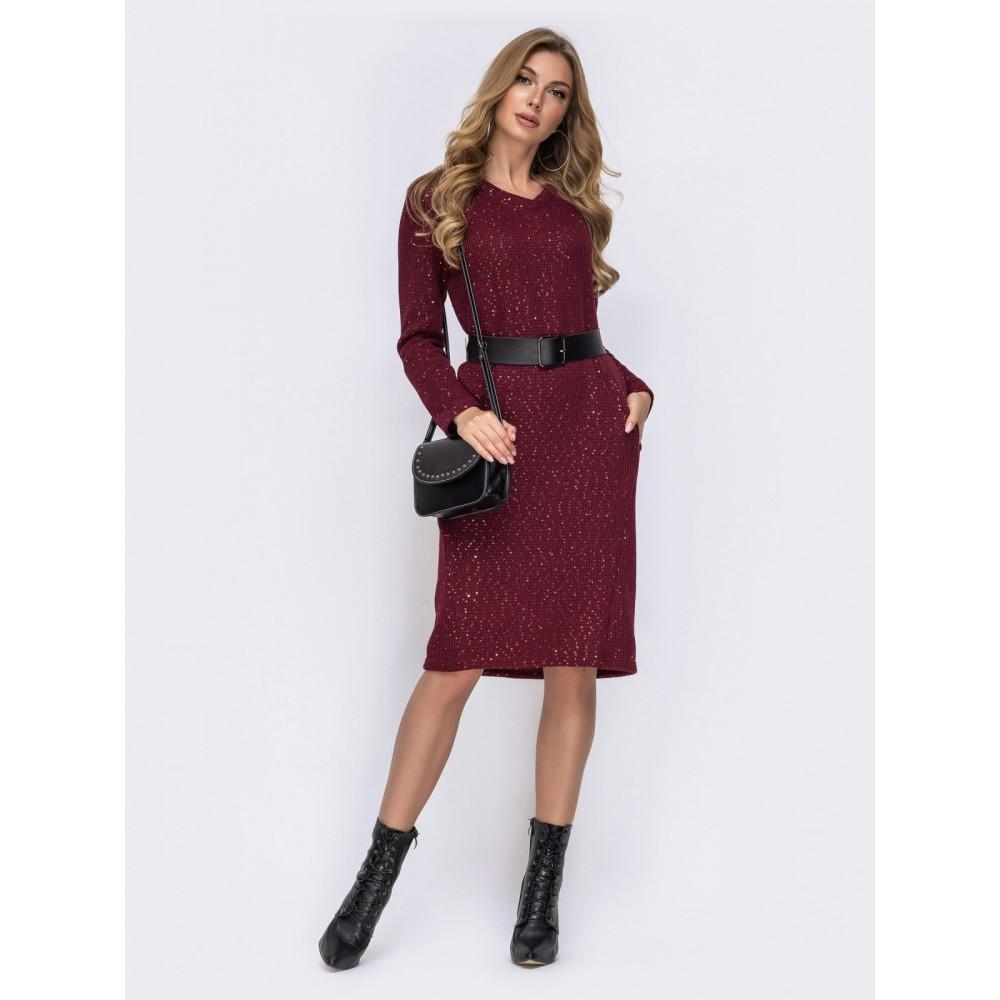 Бордовое платье с пайетками фото 1