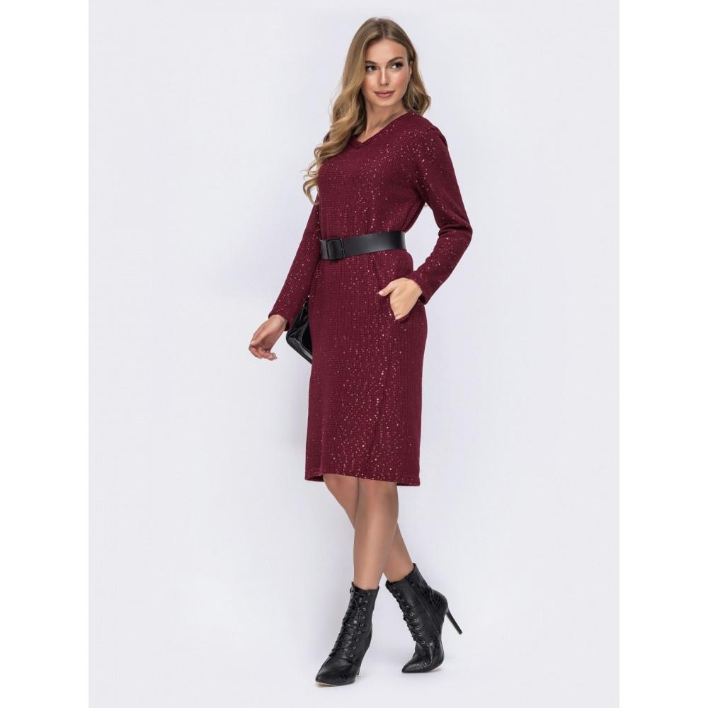 Бордовое платье с пайетками фото 2
