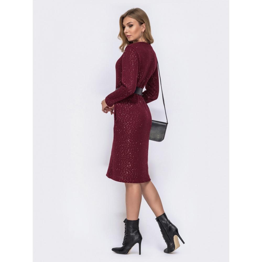 Бордовое платье с пайетками фото 3