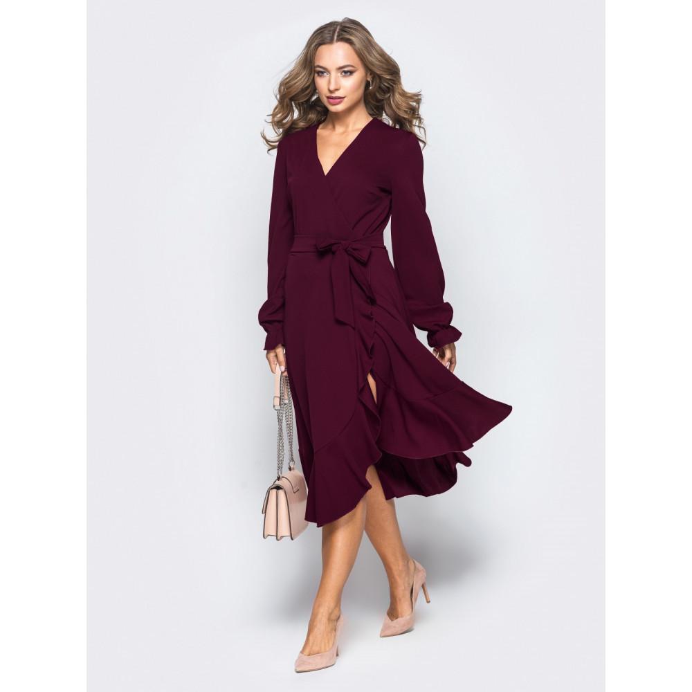 Бордовое платье-миди с воланом фото 1