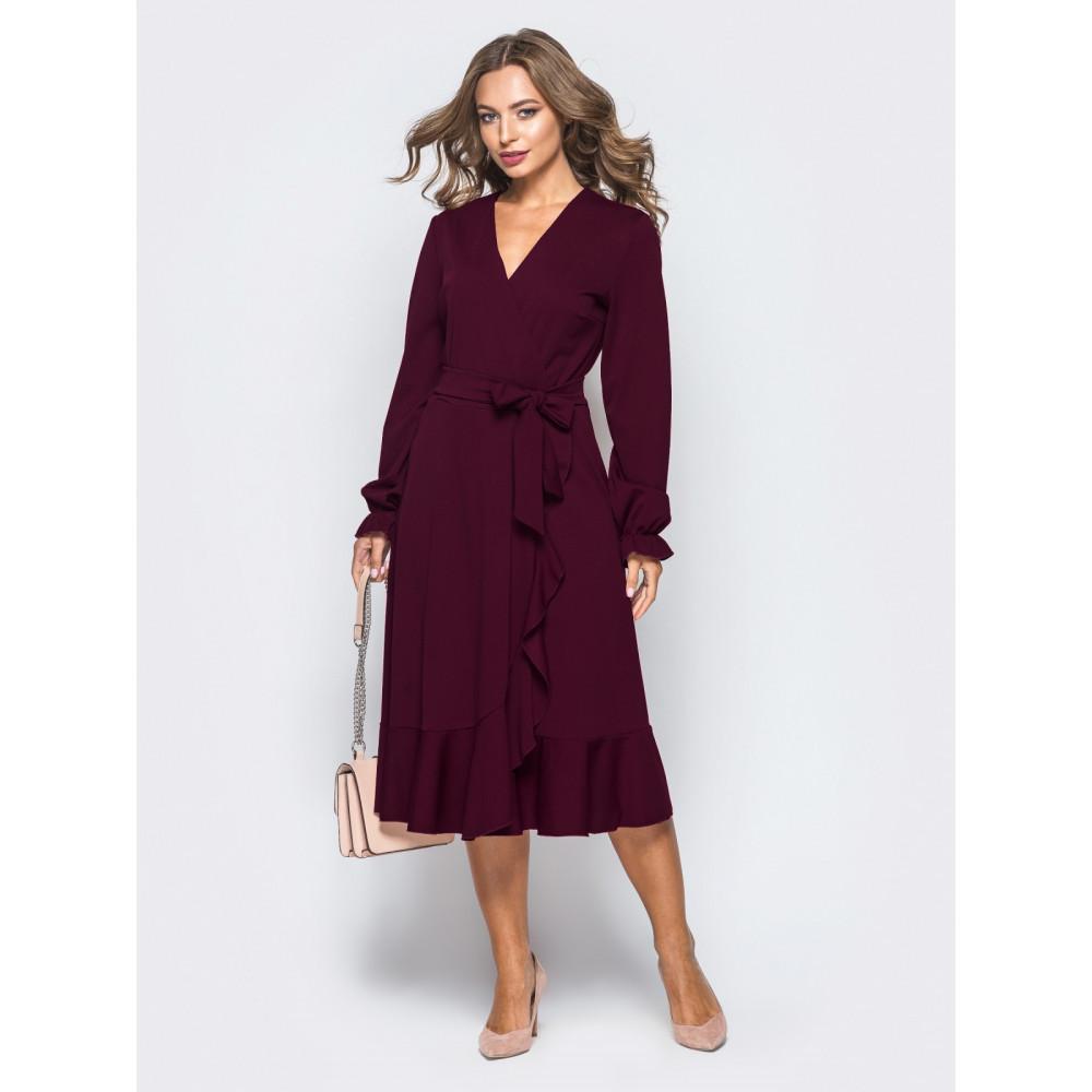 Бордовое платье-миди с воланом фото 2