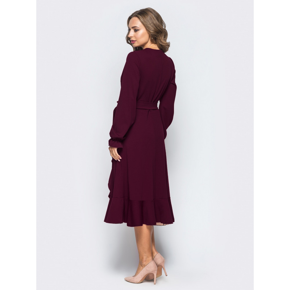 Бордовое платье-миди с воланом фото 3