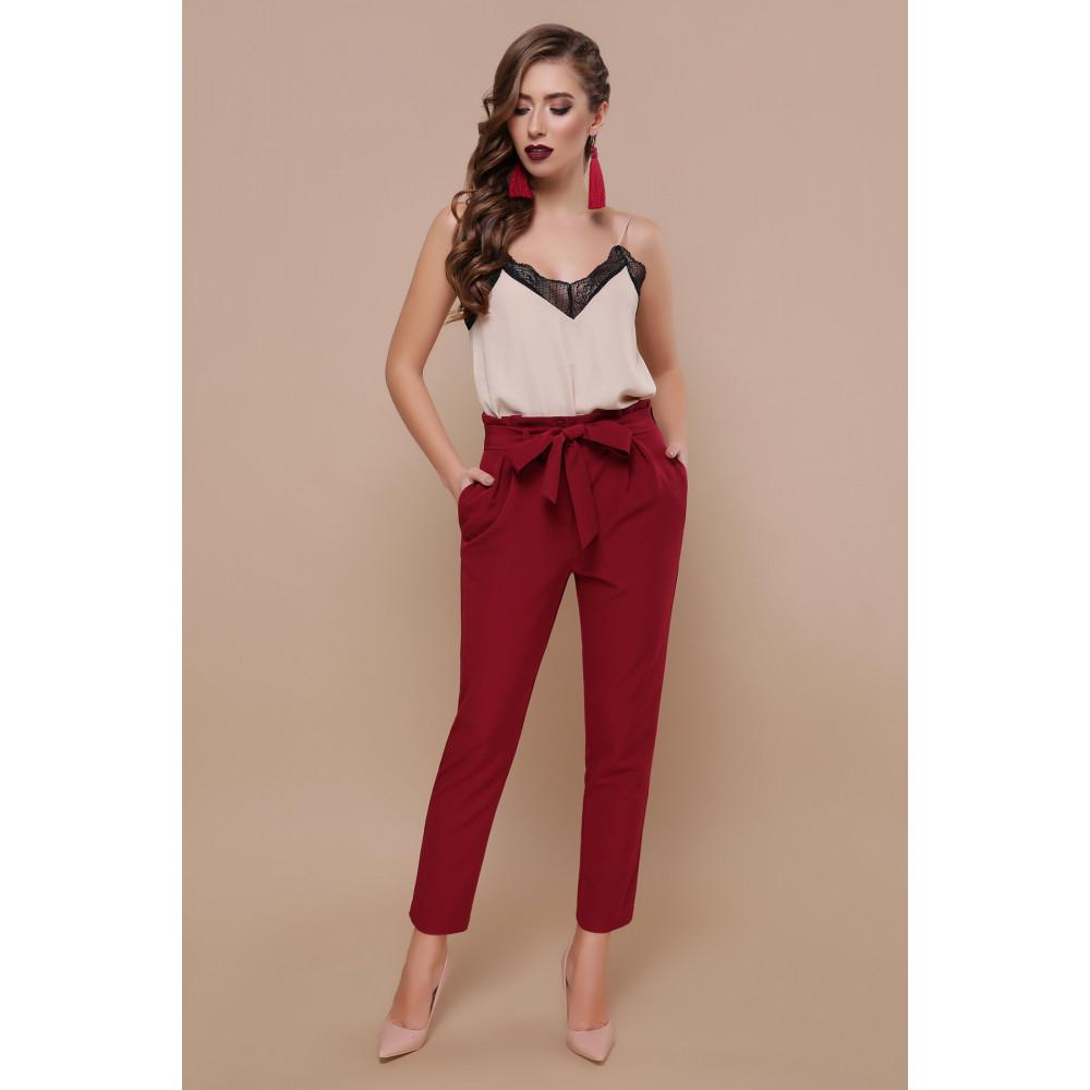 Зауженные брюки бордового цвета Челси фото 4