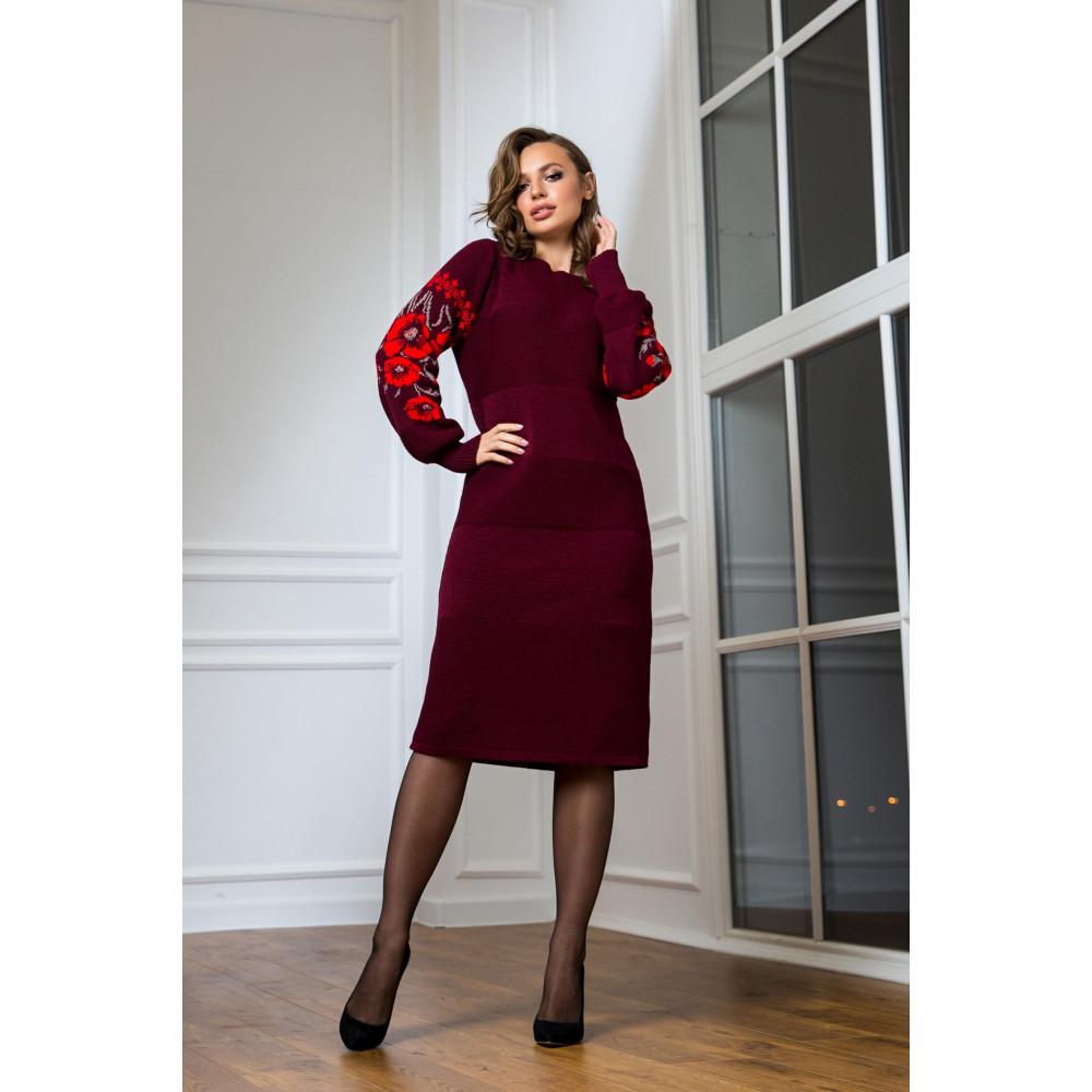 Бордовое нарядное платье-вышиванка Любава фото 1