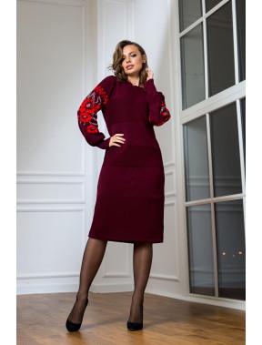 Бордова ошатна сукня-вишиванка Любава