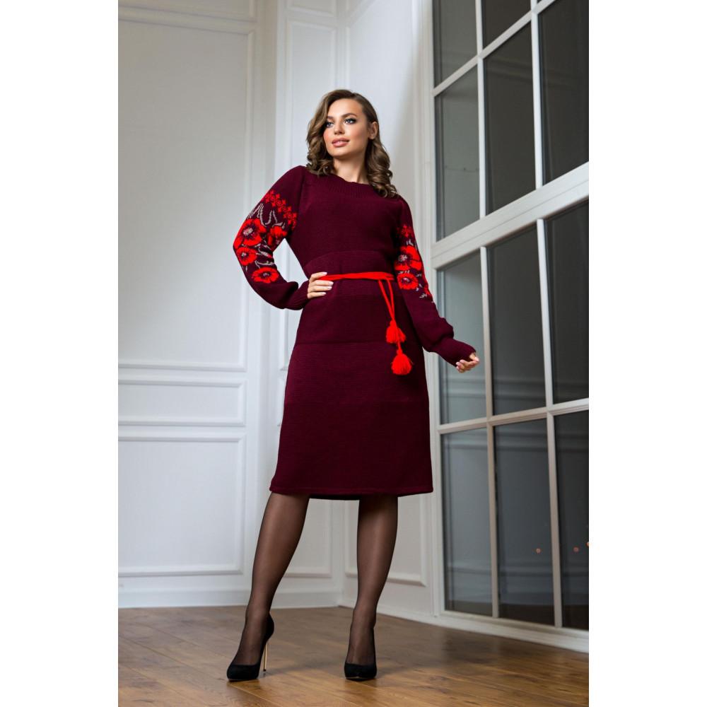 Бордовое нарядное платье-вышиванка Любава фото 2