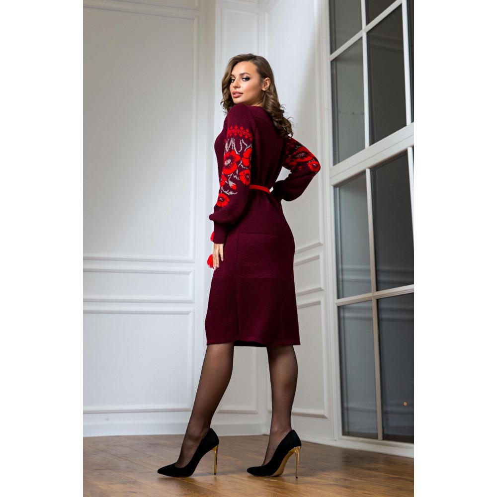 Бордовое нарядное платье-вышиванка Любава фото 3