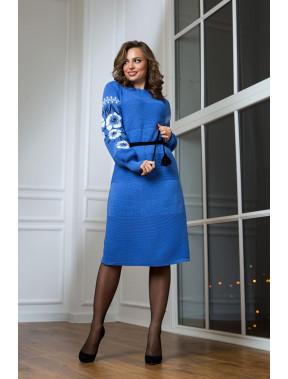 Шикарна блакитна сукня-вишиванка Любава
