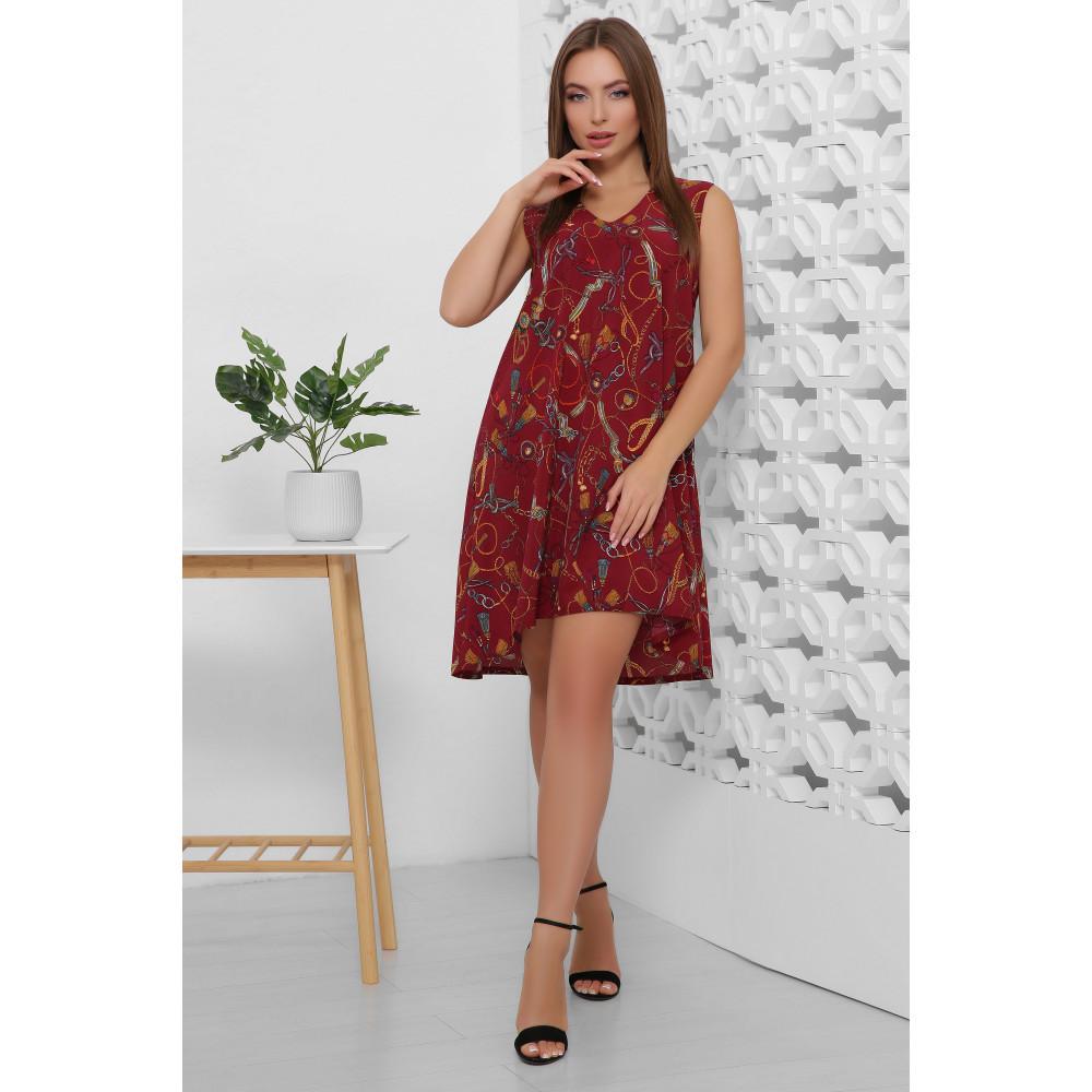 Легкое летнее принтованное платье без рукавов фото 1