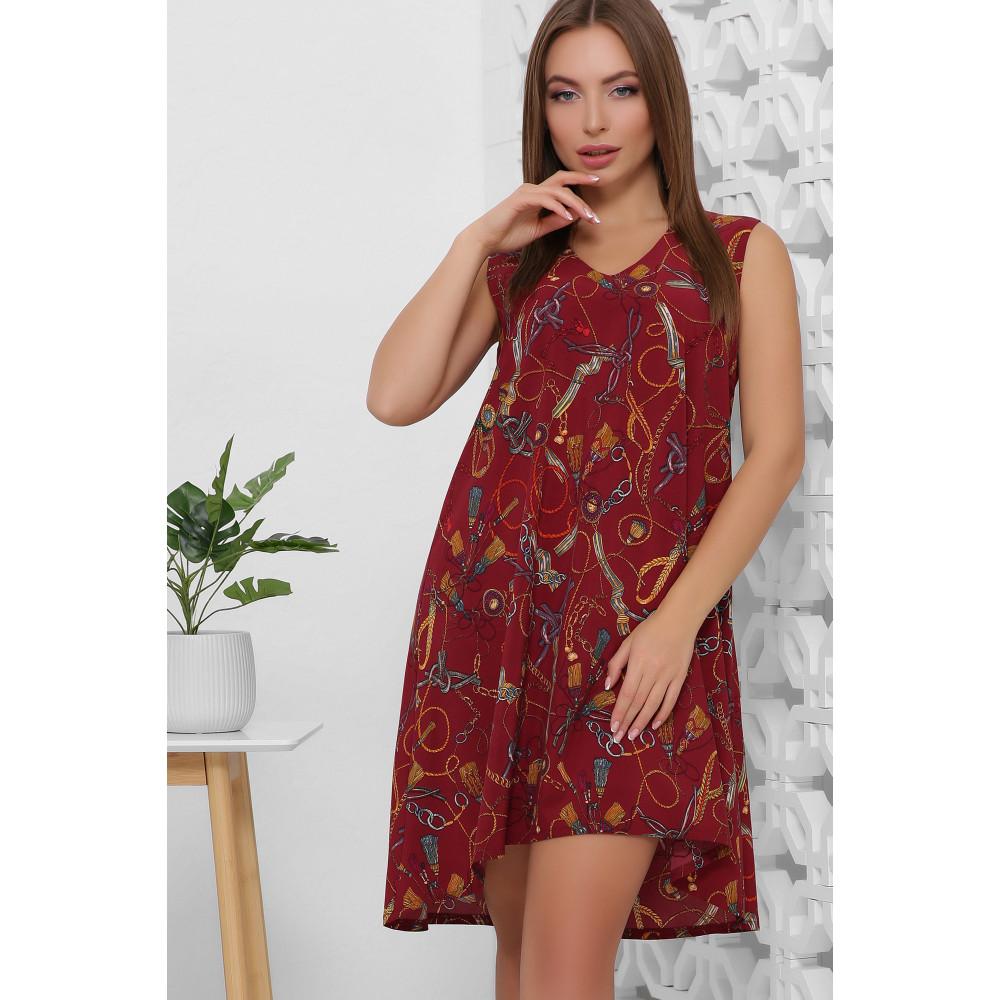 Легкое летнее принтованное платье без рукавов фото 3