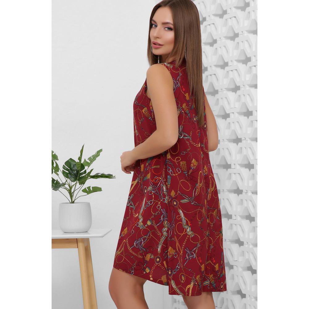 Легкое летнее принтованное платье без рукавов фото 4