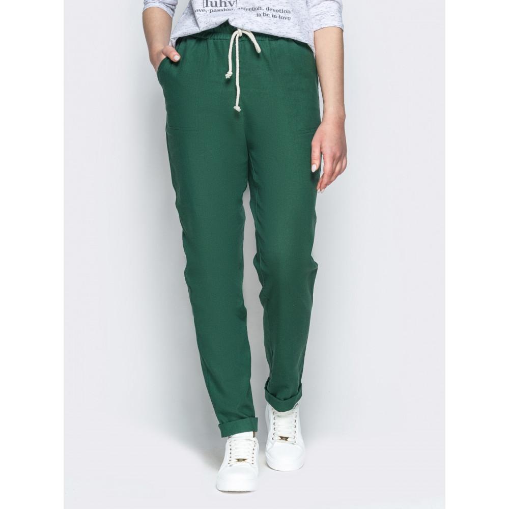 Зеленые льняные брюки с контрастным шнурком фото 1