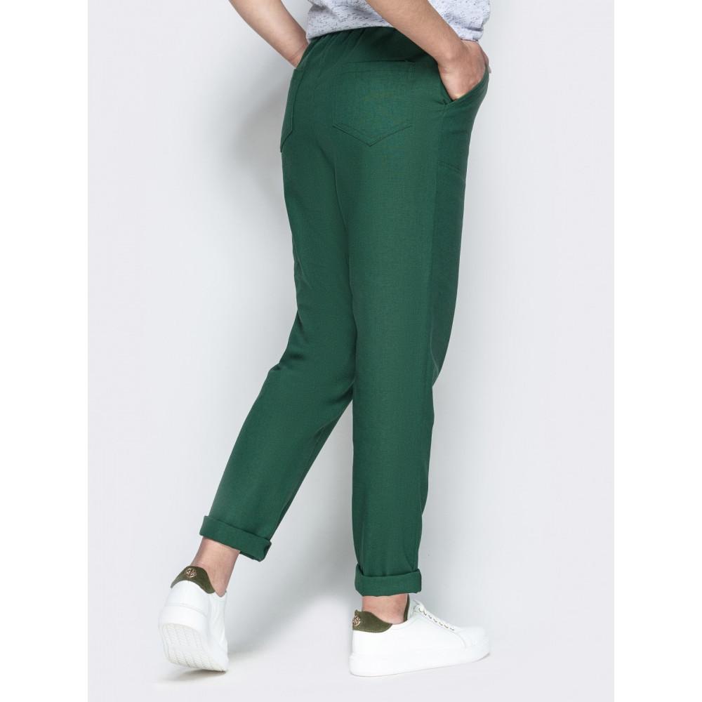 Зеленые льняные брюки с контрастным шнурком фото 3