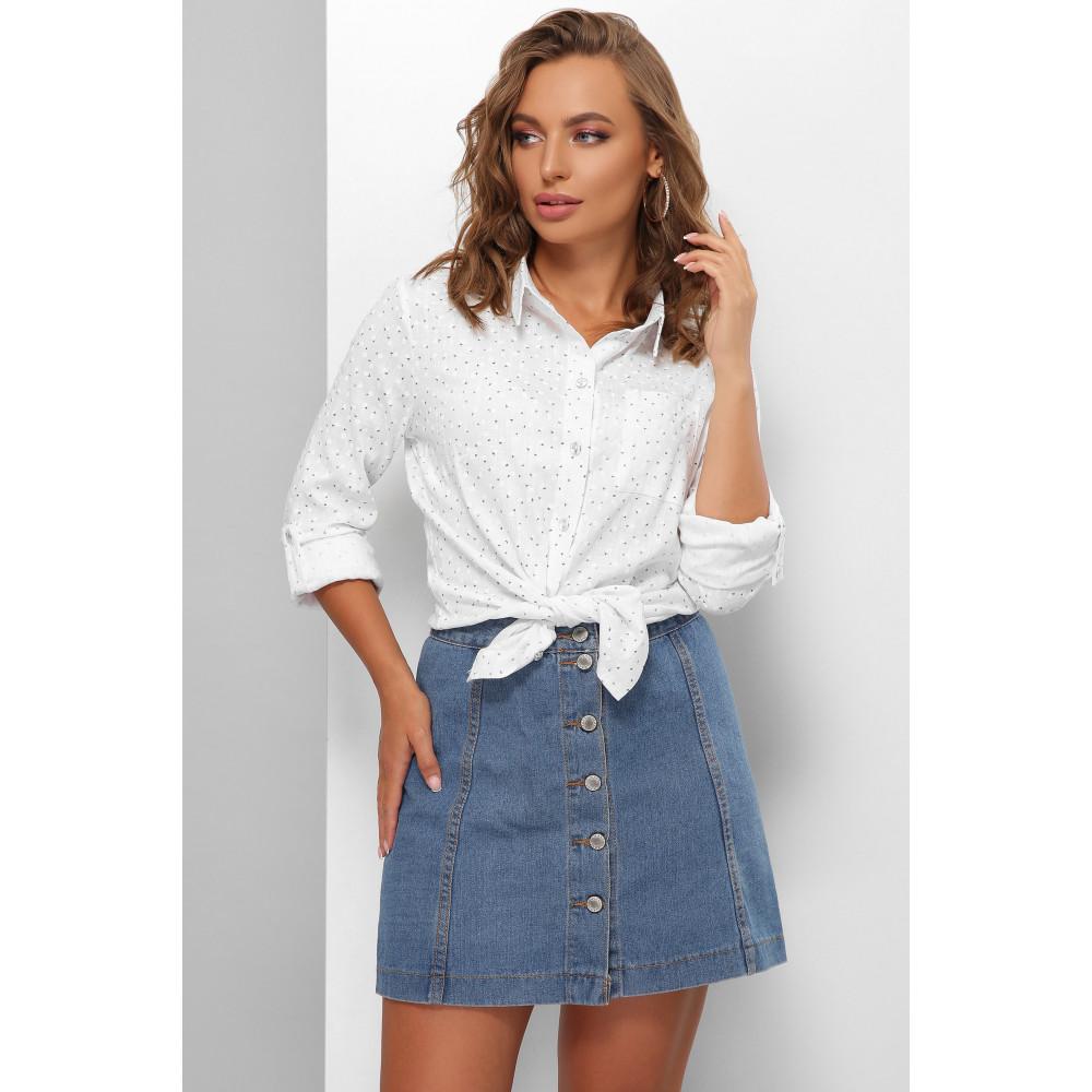Белая рубашка из льна с принтом фото 1