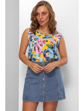 Яркая блузка без рукавов Мальва