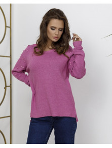 Сиреневый свитер с декором Паулина