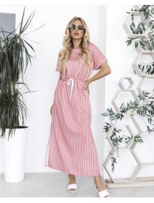 Літня смугаста сукня-максі з котону