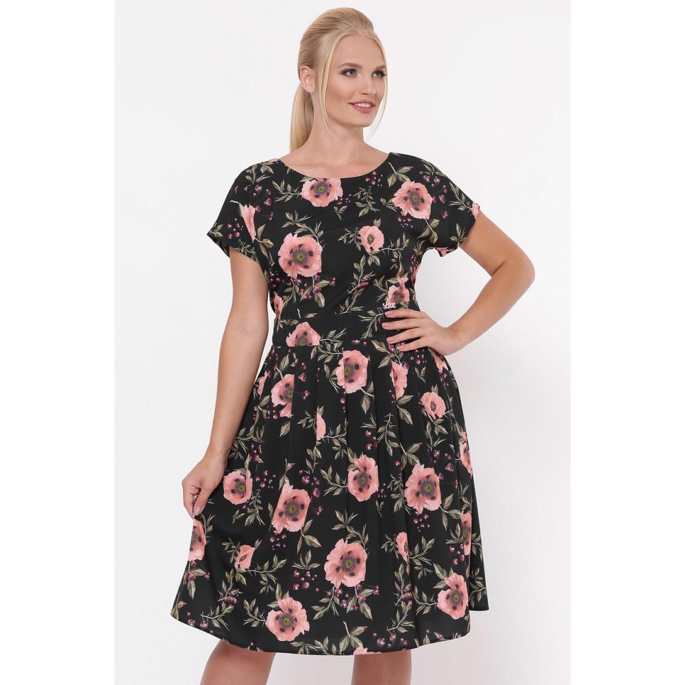 Красивое черное платье в розы Лорен фото 1