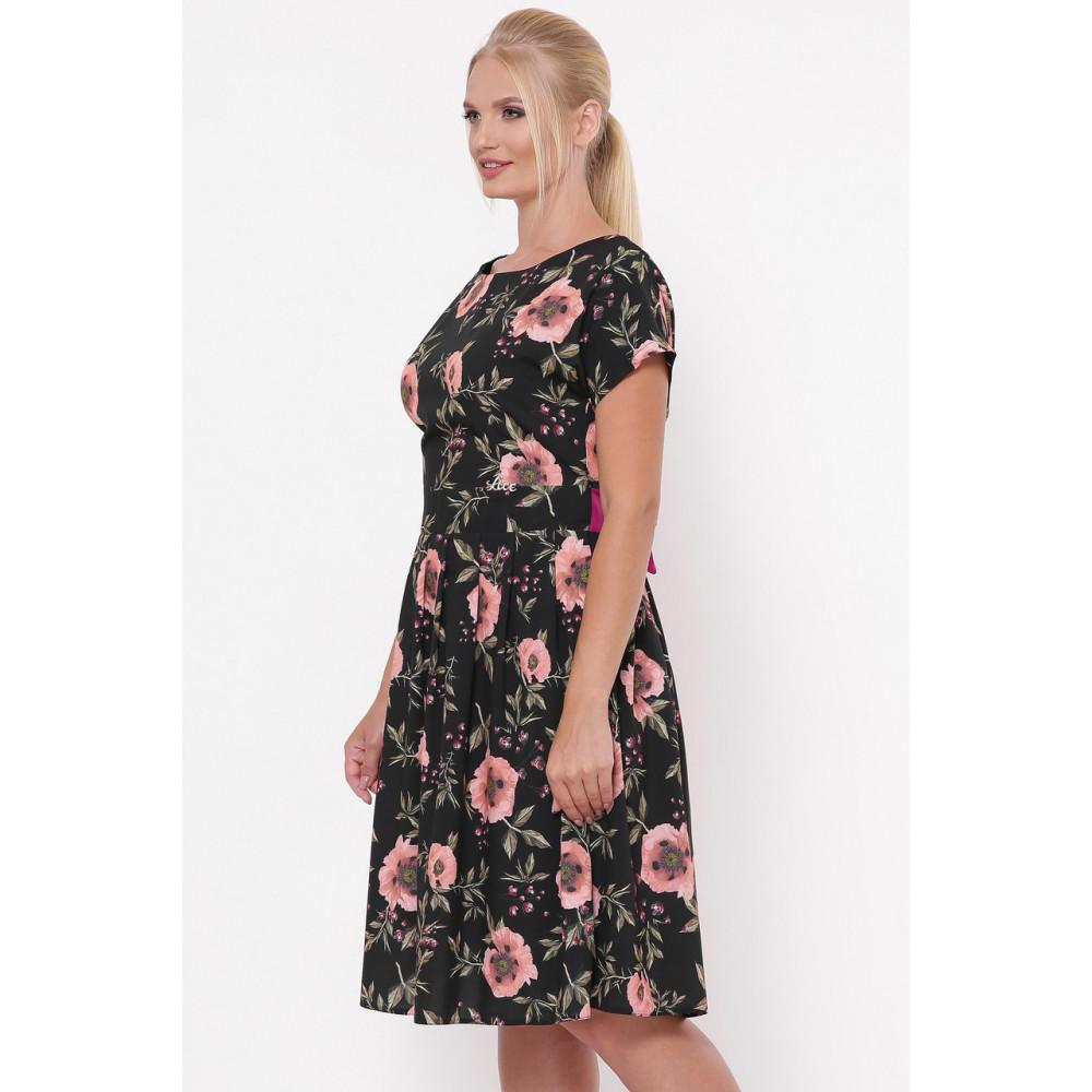 Красивое черное платье в розы Лорен фото 2
