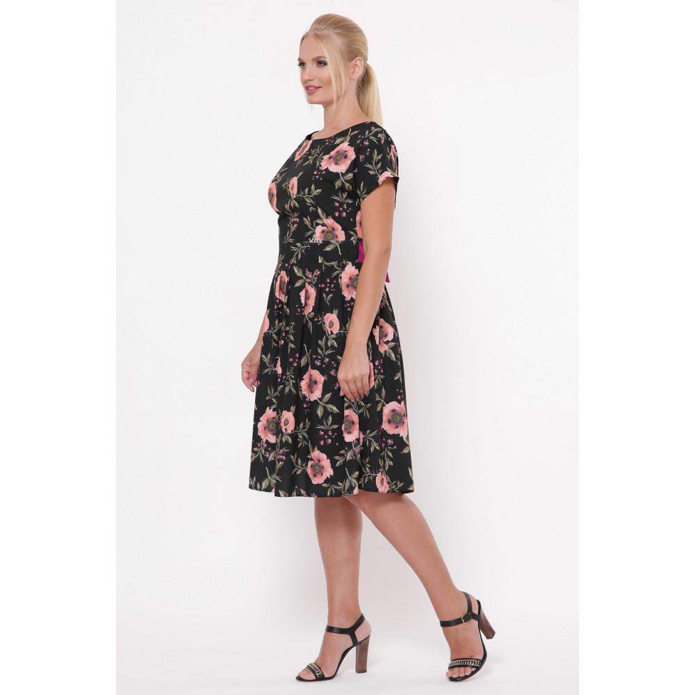 Красивое черное платье в розы Лорен фото 3