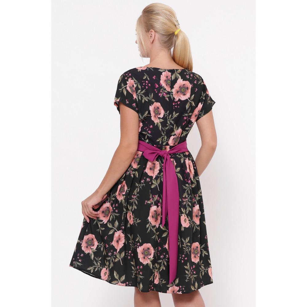 Красивое черное платье в розы Лорен фото 4