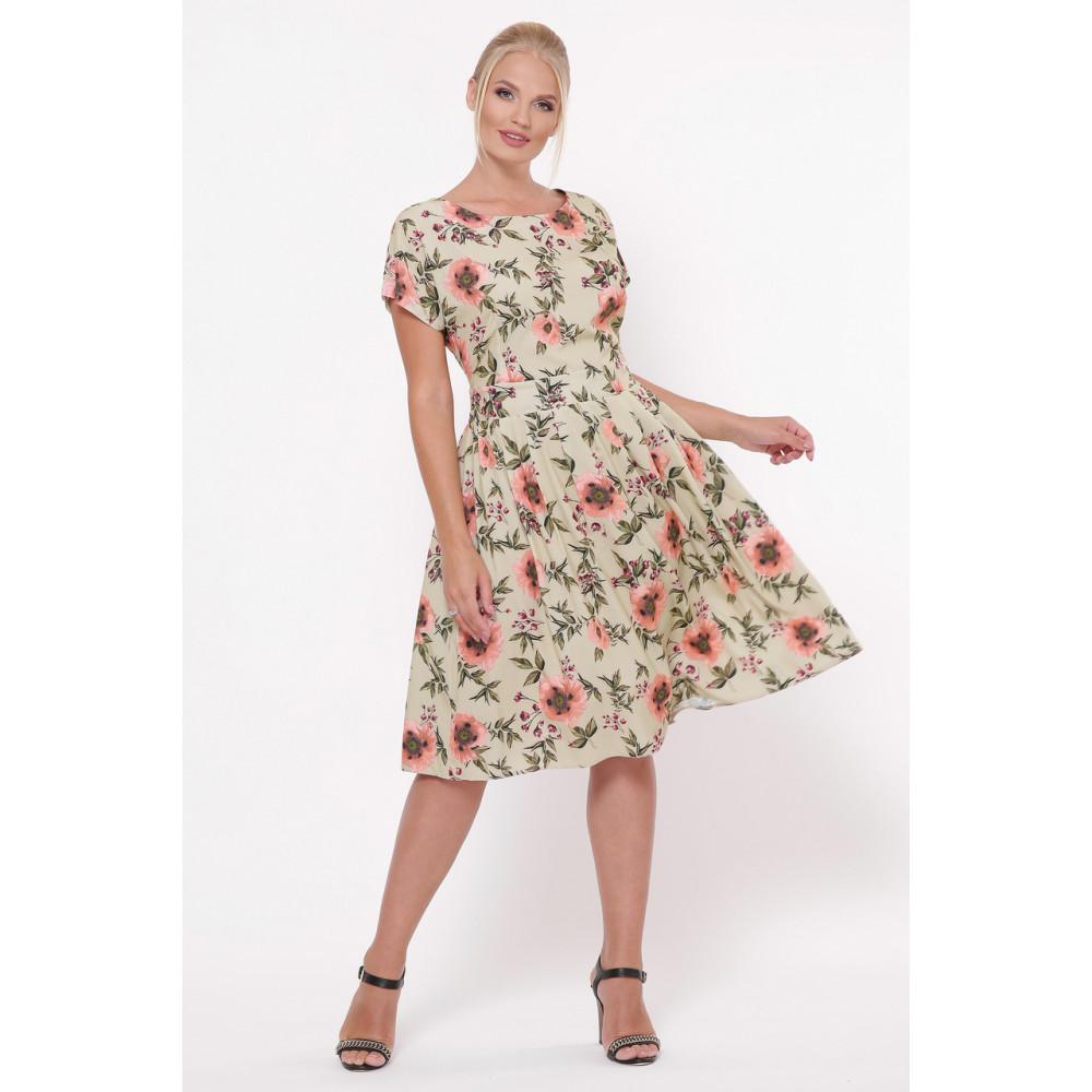 Легкое бежевое платье в розы Лорен фото 1