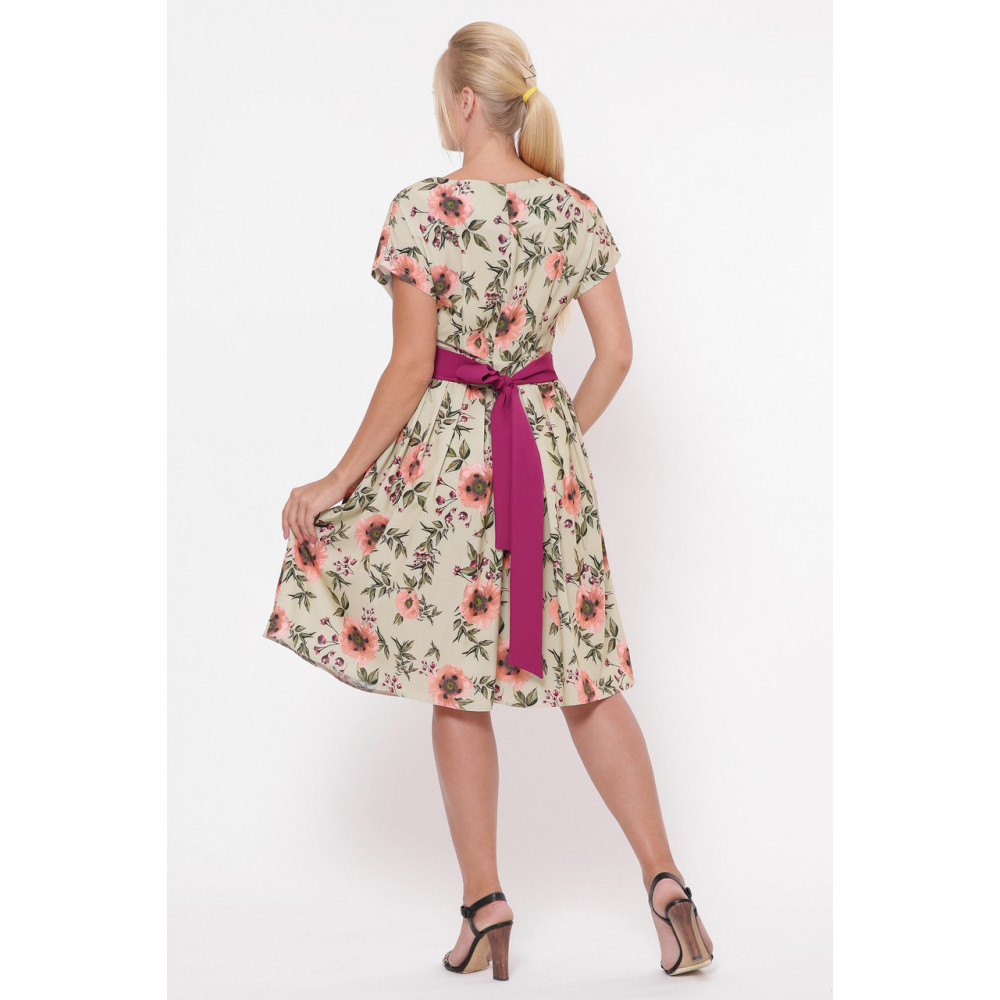 Легкое бежевое платье в розы Лорен фото 2