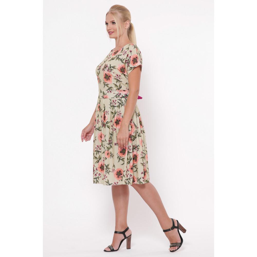 Легкое бежевое платье в розы Лорен фото 3