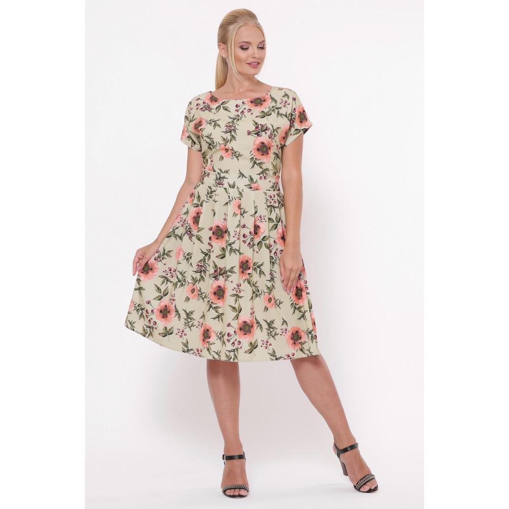 Легкое бежевое платье в розы Лорен фото 4