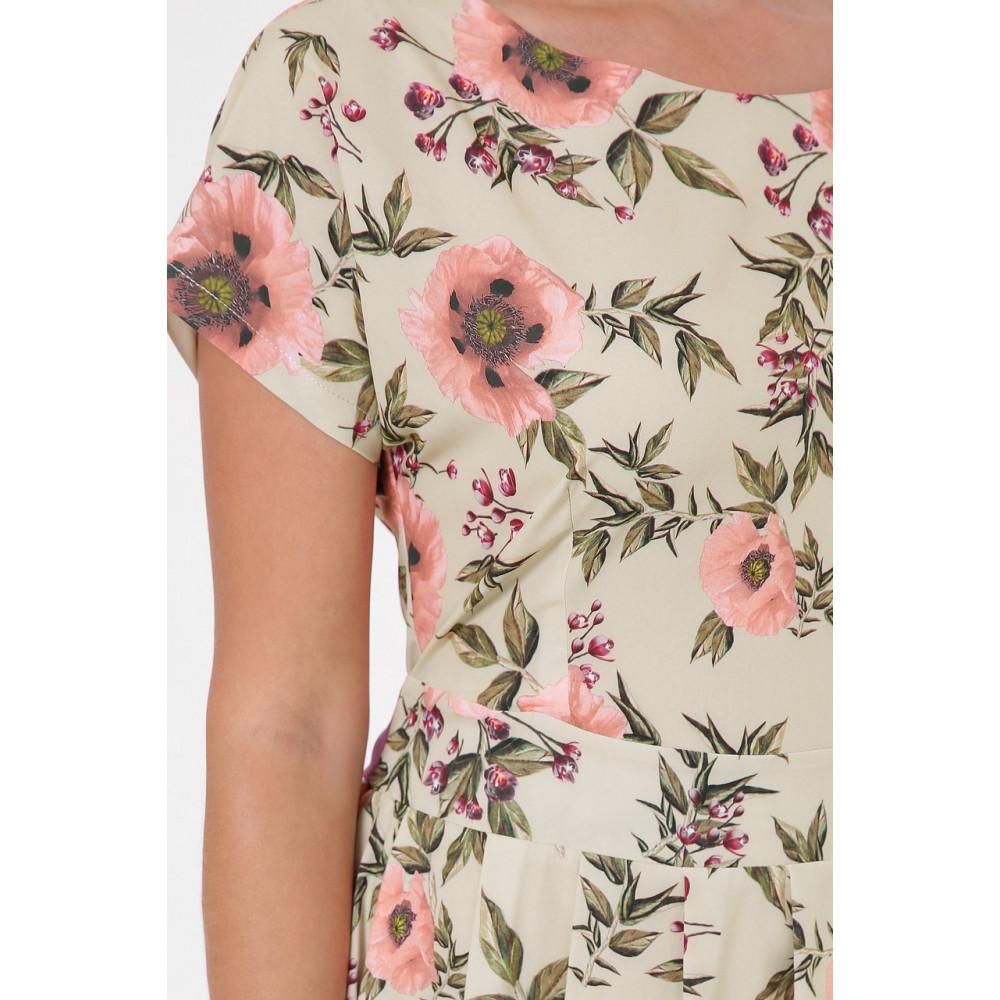 Легкое бежевое платье в розы Лорен фото 5