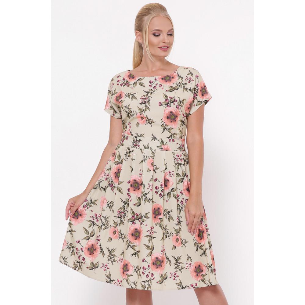 Легкое бежевое платье в розы Лорен фото 6