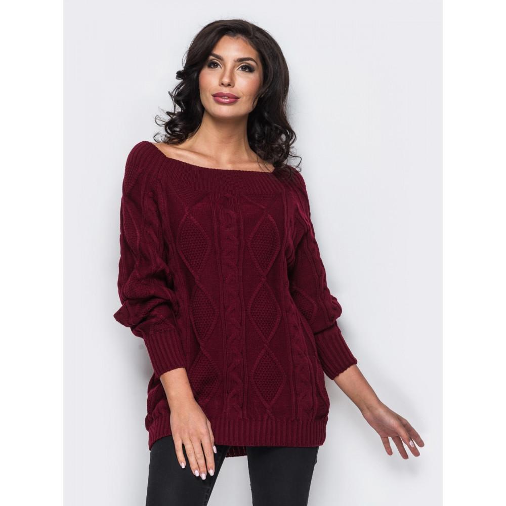 Красивый свитер ягодного цвета Рита фото 1