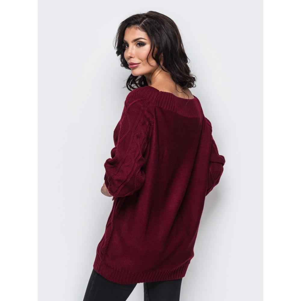 Красивый свитер ягодного цвета Рита фото 2