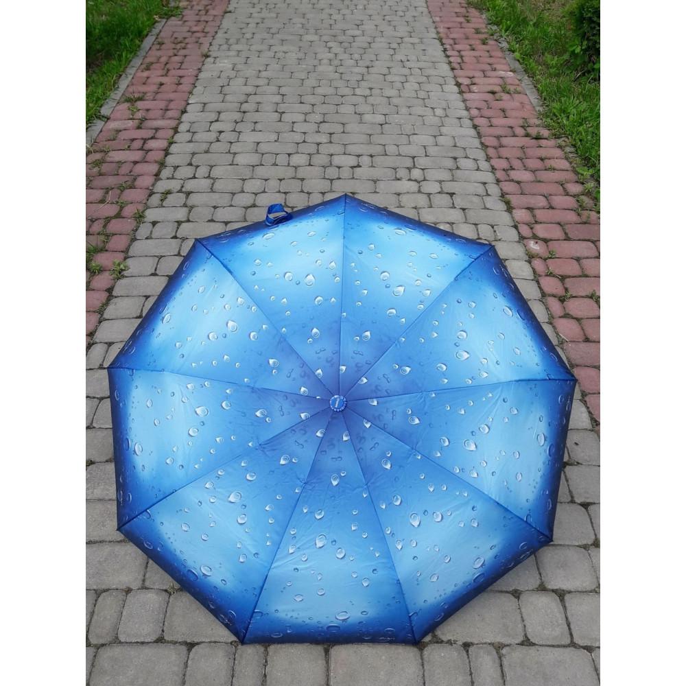Женский зонт голубого цвета с каплями дождя фото 1
