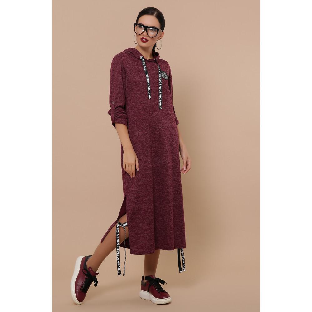 Бордовое платье в спортивном стиле Далия фото 1