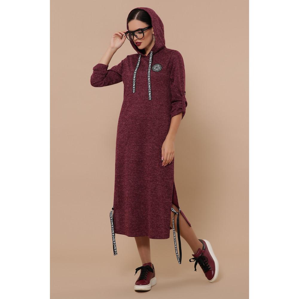 Бордовое платье в спортивном стиле Далия фото 2