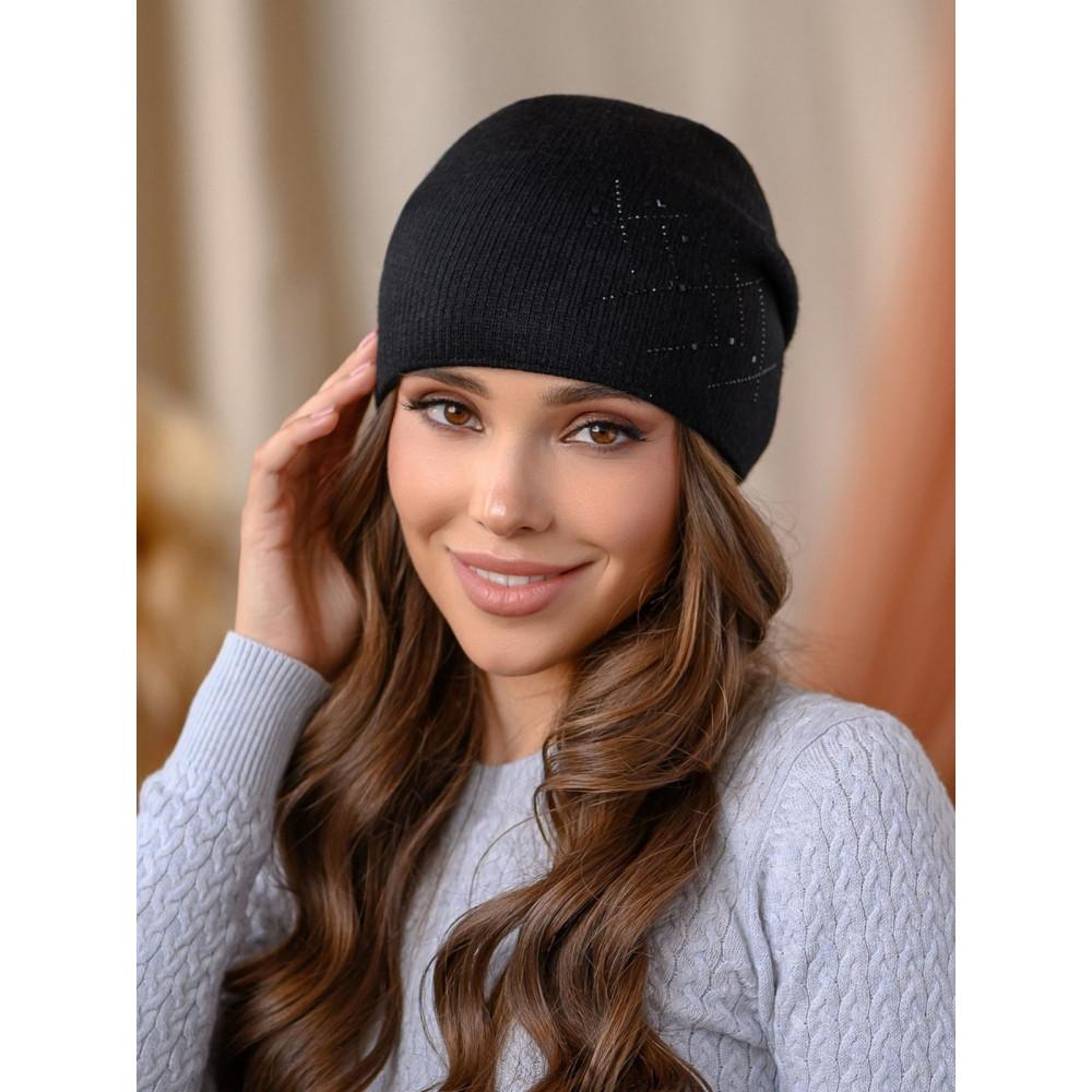 Вязаная шапка Янина черного цвета  фото 1
