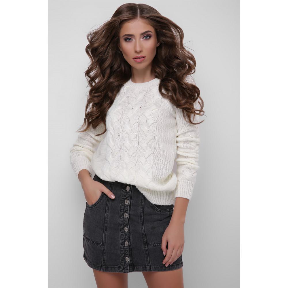 Интересный свитер Косичка молочного цвета фото 1