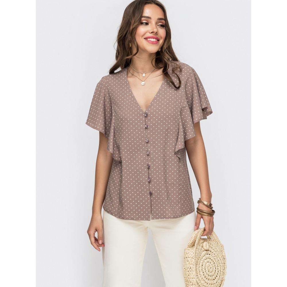 Женственная блузка в горошек с рукавом-крылышко фото 1