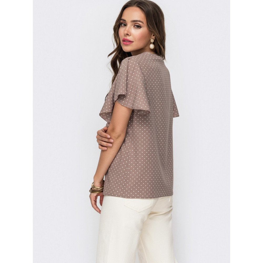 Женственная блузка в горошек с рукавом-крылышко фото 2