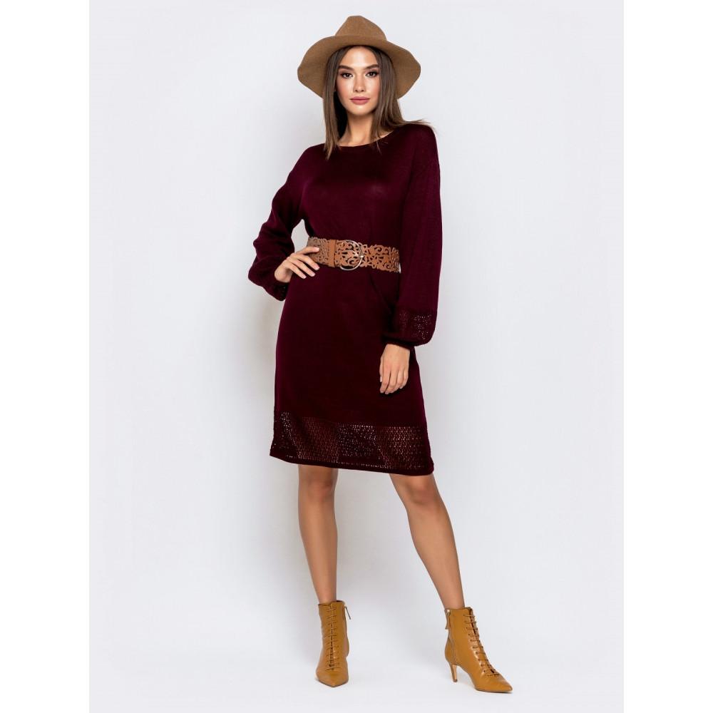 Бордовое вязаное платье Пенелопа фото 1