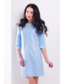 Нежно-голубое платье со вставками из эко-кожи Рута
