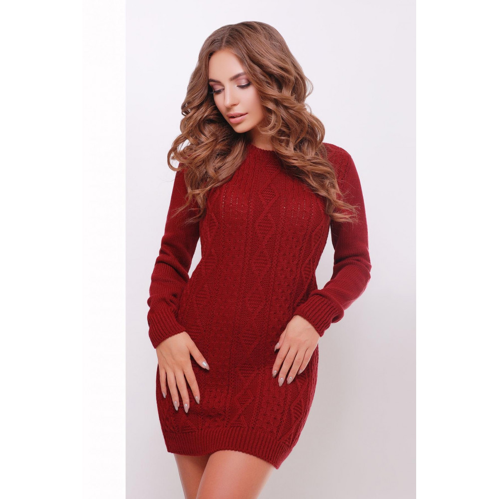 Бордовое женственное платье-туника фото 1