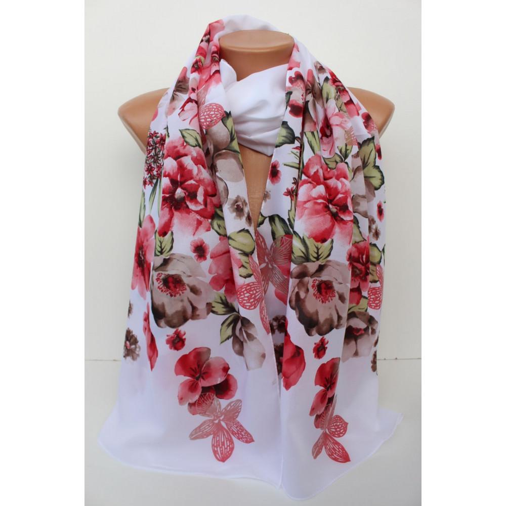 Белый шарф в цветы Шери  фото 1